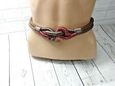 Vintage  Womens Rope Braided Woven Cord Knot Belt Brown Red Tie Retro's