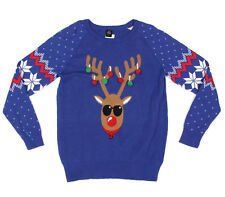 3-D REINDEER ANTLER ORNAMENT POM POM Ugly Christmas Sweater Rudolph Holiday - L