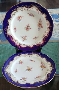 2 ANTIQUE CA 1850 COALPORT CABINET OR DINNER PLATES #6698 COBALT & FLORAL