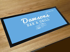 Personalised Family Bar & grill sign bar runner mat kitchen blue