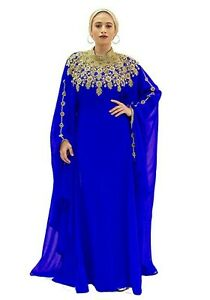 Haute COUTRE Designer Abaya Fancy Maxi Dress Palestinian Kaftan + Beige Scarf