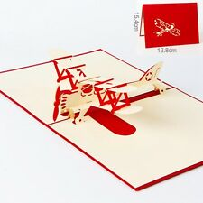 3D Pop Up Greeting Cards Plane Children Father's Day Birthday Good Luck Postcard