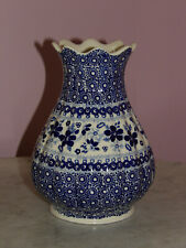 "Polish Pottery 8"" Scalloped Tear Drop Vase! Unikat Signature Rembrandt in Blue!"