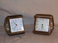 Lot of 2 Vintage Phinny Walker Travel Alarm Clock Fold-Up Hard Case