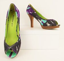 Madden Girl Purple Black Teal Satin Peep Toe Platform Pumps Heels 7.5 M (S146)