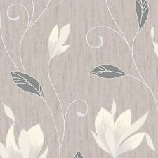 NEW!!! Taupe /Silver Glitter-M0782-Synergy Floral Textured Vymura Wallpaper