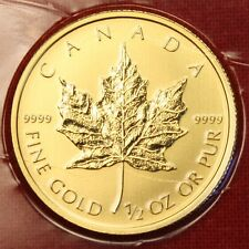 2014 CANADIAN GOLD MAPLE LEAF 1/2 oz .999% BU GREAT COLLECTOR COIN GIFT