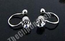 4mm CRYSTAL comfy U CLIP ON silver STUDs stud earrings