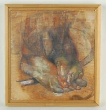"""The Caress"" Couples Entwined Feet Encaustic Painting on Wood signed"