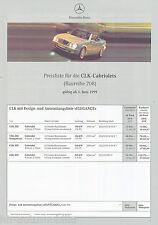 Mercedes CLK Cabriolet Preisliste 1.6.99 price list 1999 Auto PKWs Deutschland