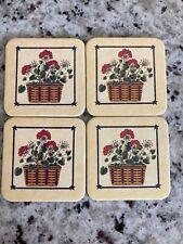 Longaberger Set Of 4 Cork Backed Coasters-All American Basket W/Geraniums
