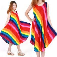 Rainbow Bohemian Dress Beach Sundress Size XS-XXL up to 2X bw161