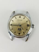 Vintage Men's Vantage Stainless Steel Day Date Manual Wind Swiss Watch