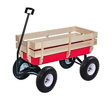 ALEKO Kids Wood and Steel Wagon Play Cart For Children Red