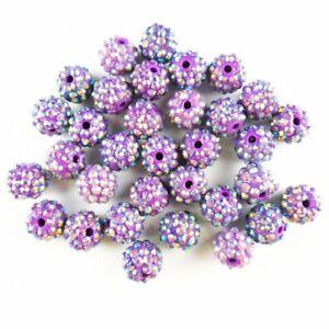 10Pcs 8g Faceted Purple Titanium Crystal Ball Pendant Bead JZ12