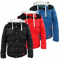Young Mens Boys Jacket Puffer Padded Zipper Coat Suede Patches Detachable Hood