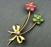 Vintage Multi-color Crystal Rhinestone Spray Bouquet of Flowers Gold-tone Brooch