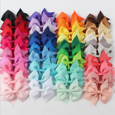 40 Handmade Bow Hair Clip Alligator Clips Girls Ribbon Kids Sides Accessories A7