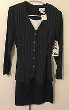 FASHION BUG GREEN STRIPED DRESS FORMAL/BUSINESS JACKET ATTACHED NWT