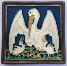 Arts & crafts cloisonne delft tile pelican (with youngster) Porceleyne Fles 30's