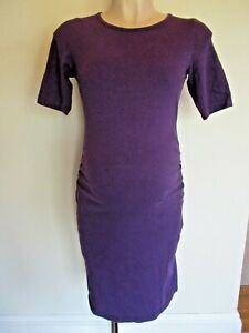 DOROTHY PERKINS MATERNITY PLUM RUCHED BODYCON T-SHIRT DRESS SIZE 10