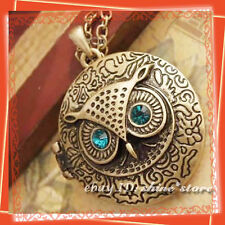LADIES Retro VINTAGE Style Bronze Blue Eye OWL Locket Pendant Necklace Chain  22
