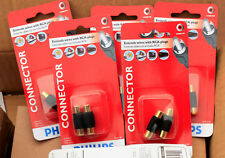 NEW 12 (6 x 2 Card) Female To Female RCA Connector Adapter Coupler Philips Cards