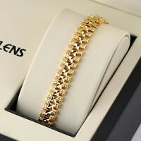 "Women/Men Watch Chain Bracelet 18K Yellow Gold Filled GF 8""Link Fashion Jewelry"