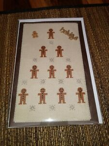 """Completed Cross Stitch Greeting Card """" Gingerbread Tree """""""