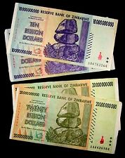 4 Zimbabwe banknotes-2 x 10 & 20 Billion dollars -paper money currency
