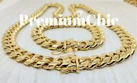 14mm COMBO Men Miami Cuban Link Bracelet & Chain 14k Gold Plated Stainless Steel