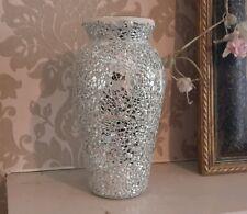 Par De Plata Espejo de cristal del crujido Sparkle mosaico Florero Urna Estilo Boda
