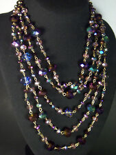 "Aldo Aurora Borealis Glass Bead 5 Strand 16"" - 19"" Bib Necklace & Hoop Earrings"