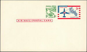 Canal Zone - 1963 - 5 + 1 Cent Plane, Flag & Map Airmail Postal Card #UXC2 Mint