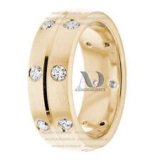 Pure 10K Yellow Gold Women's Diamond Wedding Ring 0.60Ctw 7mm Wedding Band