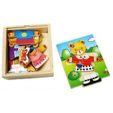 Fun Factory Wooden Bear Dress up Preschool Educational Emotions Puzzle