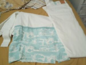 Used Joules Blue And White Farm Print Curtains