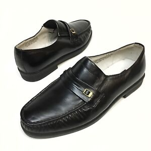 ✅💟✅@ Ambassador Shoes Leather Slip-On Casual Loafers 12 D Black Dress Comfort
