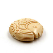 Double Faces Tibet Bone Lucky Fish Pendant Bead--Jewelry Bead--28mm*28mm