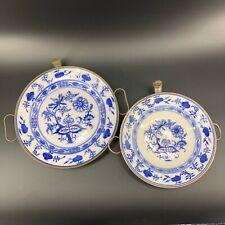 2 Antique Meissen German GMT & BMC Porcelain Blue Onion Hot Water Warming Plates