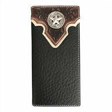 Mens Western Cowboy Genuine Leather Wallet Long Bifold Wallet for Men Star