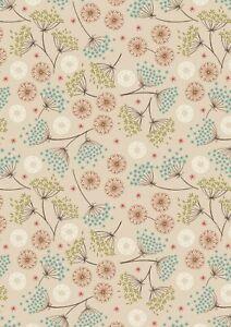 Lewis & Irene - New Forest Winter  Floral on dark cream 100% COTTON (per 1/4m)