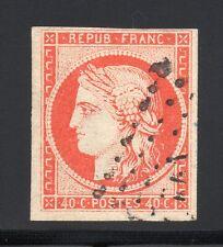 FRANCE 1850 CÉRÈS ND, YVERT N°5 obl., 40c Orange, SIGNÉ 2 FOIS - YVERT 500 €