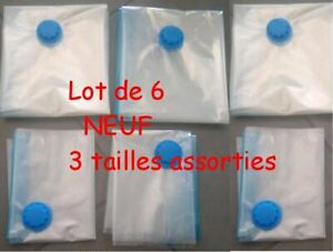 Lot 6 Sacs / Housse Rangement Sous Vide Compression : 3 formats NEUF