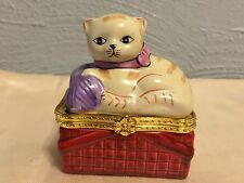 A Cute Cat Or Kitten In a Ceramic Basket Hinged Trinket Box