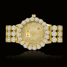Real Diamond Yellow Gold Custom Roman Flower Ice House Luxury Watch W/Date Men's