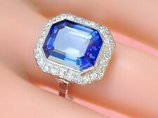 ANTIQUE ART DECO .65ctw DIAMOND 9.5ct BLUE SAPPHIRE PLATINUM COCKTAIL RING 1930