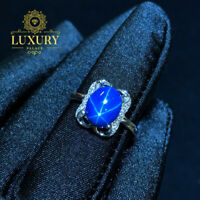 Natural 8x10mm Blue Star Sapphire Gemstone 925 Sterling Silver Women Rings