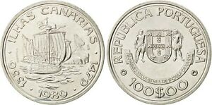 1989 PORTUGAL 100 ESCUDOS CANARY ISLANDS ISLAS CANARIAS 100$00 UNC COIN G306
