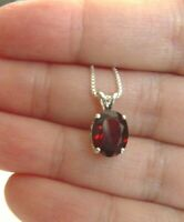 GARNET GENUINE 10x8MM OVAL  PENDANT ITALIAN CHAIN NECKLACE